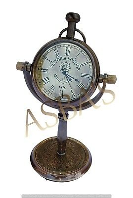 Brass Antique Desk Clock Victoria London Nautical Home Office Decor Table Top
