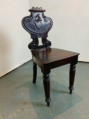 UK DELIVERY Antique Victorian C1870 Heraldic carved mahogany hall chair , Table