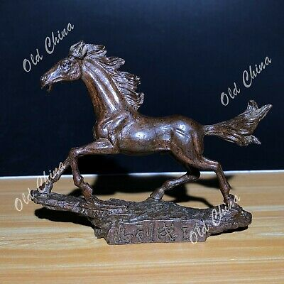 Collectible Chinese Old Vintage Pure Solid Copper Handwork Swift Horse Statue C5