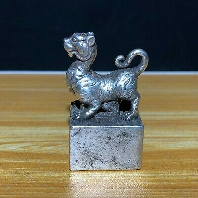 Chinese Old Tibet Silver Tiger Handwork Vintage Collectible Set Seal Statue C5