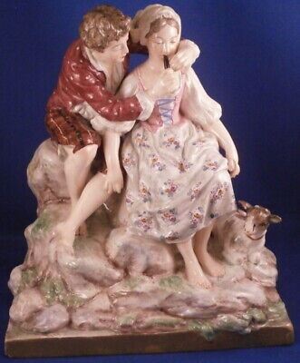 Antique 19thC French Faience Lady & Gent Figurine Figure Fayence Figur France