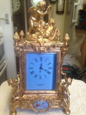 Heavy Brass Clock  Vincenti Rose Three Porcelain Panels