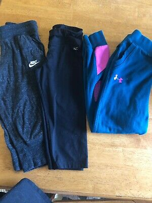 Lot Of 3 Girls Size 10/M Athletic Leggings. Nike, UA, Justice. EUC Free Ship