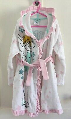 Disney Store Girls Tinkerbell Tink Pink White Dressing Gown Robe - Age 5-6 Years