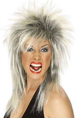 Rock Diva Wig, Two Tone, Blonde & Black, Long Mullet (UK IMPORT) COST-ACC NEW