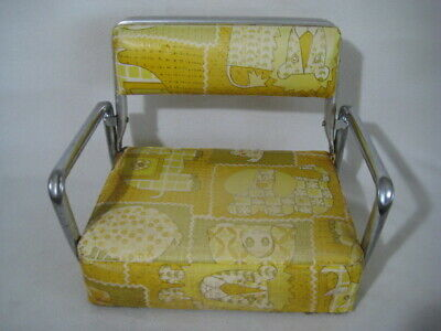 Vintage Toddler Child Booster Seat High Chair Vinyl Foldable Animal Print