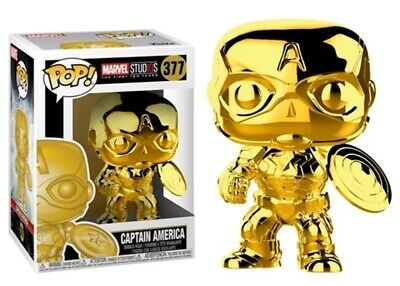 Funko POP! Marvel Studio's 10th Anniversary: Gold Chrome Captain America #377