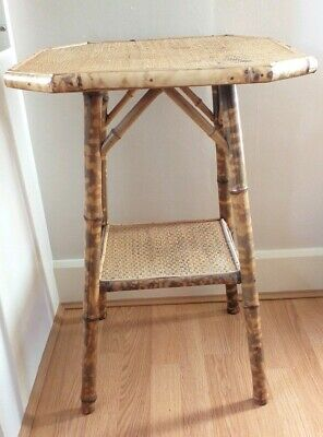 Vintage Antique Bamboo Side Table or Plant Stand Home Conservatory Octagonal Top