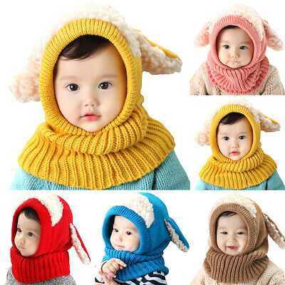 Baby Kids Boy Girl Winter Knitted Beanie Hat Warm Crochet Scarf Snood Neck Caps