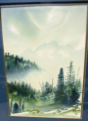 Large Signed Vintage Colorado Mountain Landscape Watercolor Painting Frank Dehne