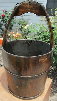 Large Stunning Rare Antique Chinese Wood Iron Water Rice Bucket With Handle