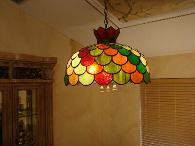 RARE OLD 50s SLAG MULTICOLOR STAINED GLASS  HANGING LAMP CHANDELIER