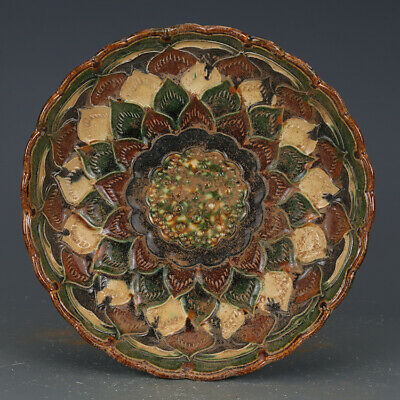 "8.3""Chinese Ceramics Tang Sancai Pottery Carving Lotus Flower Fruit Tray Plate 2"