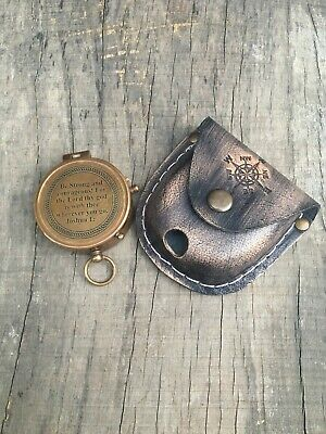 Maritime Nautical Antique Brass Working Compass With Leather Case Marine Gift
