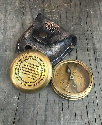 Collectible Nautical Brass Antique Working Compass With Leather Case Marine Gift