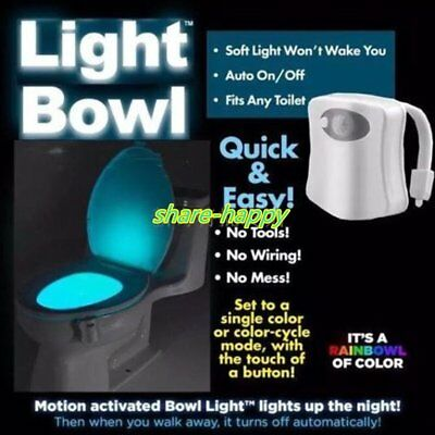 Colorful Human Body Motion Sensor 8 Color LED Toilet Bowl Bathroom Night Lamp