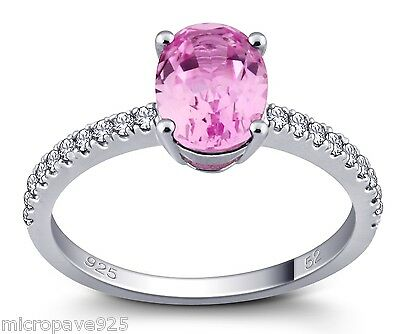 Created Pink Sapphire Oval Shaped Solitaire Ring With Pave Setting Sterling 925