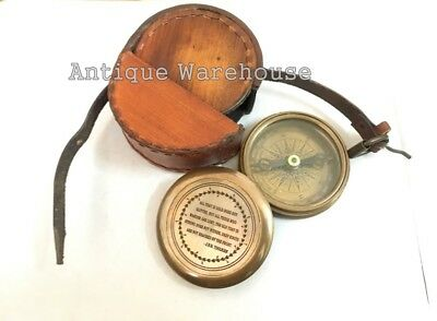 All That...Brass Pocket Compass With Leather Case Maritime Working Compass Gift