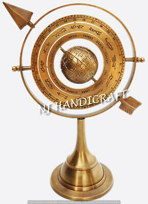"""Antique Vintage 11"""" Armillary Sphere With Arrow Nautical Maritime Engraved Globe"""