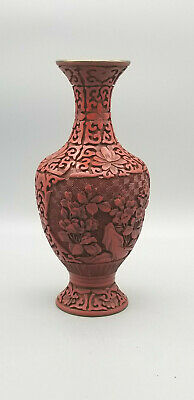 "8"" Chinese Cinnabar Lacquer and Enamel Vase"