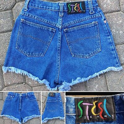 "Vintage Steel Jeans High Waist Denim Shorts Made In USA 7 25"" Waist 80s 90s"