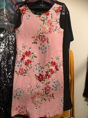 Girls Party Dress Coral Floral Mix, Textured, Age 13-14 Years, Sleeveless, Zara