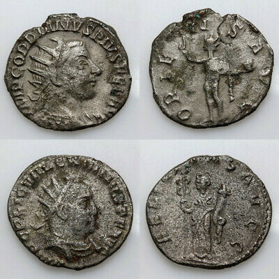 Nice Group Of 2 Roman Coin Silver Antoninian Valerian i & Gordian III 253-260 AD