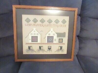 *Walk Humbly With Thy God* Framed & Matted Cross Stitch.