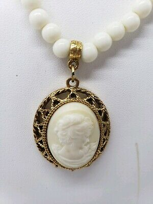 1928 brand Cameo Necklace Brand Victorian style Necklace Gold ivory color