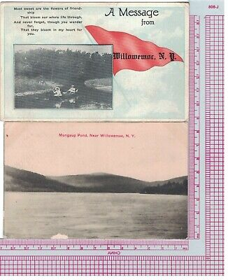 2  Postcards New York, Willowemoc, Mongaup Pond, and Sweet Message one sent 1916