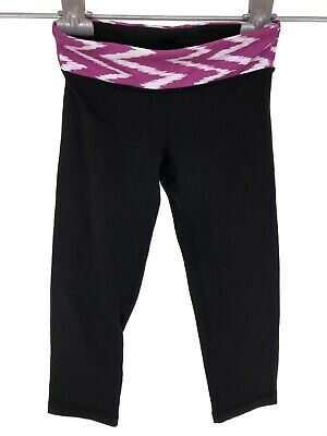Ivivva Girls Crop Leggings Sz 10 Black Purple White Waistband Athletic Fitness