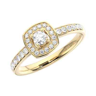 0.40 Ct Claw Set Round Brilliant Cut Diamond Engagement Ring In 18K Yellow Gold
