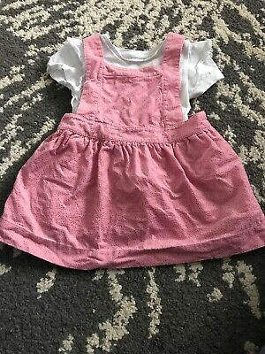 BNWT Baby girls 2 piece flower top and pink pinafore dress outfit NB  0-3  3-6 M