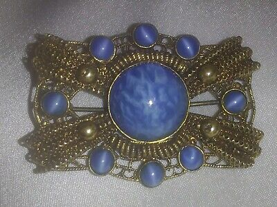 Antique Czech Blue Glass Stone Deco Brooch