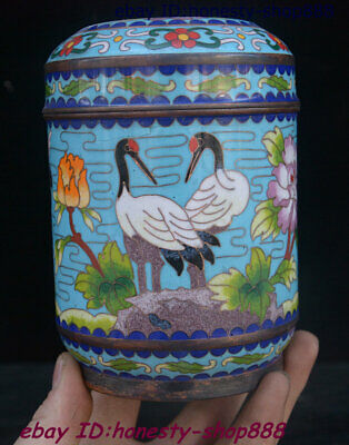 Collect Old China Bronze Cloisonne Enamel Flower Bird Red-crowned crane Tea Box