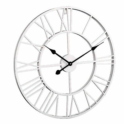 New 60CM Outdoor Garden Large Wall Clock Vintage Roman Numeral Gear Rustic UK