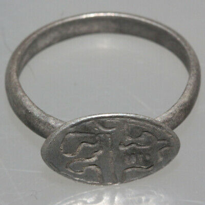 LOW PRICE !!!!!-Ancient Silver Decorated Ring From Byzantine Period