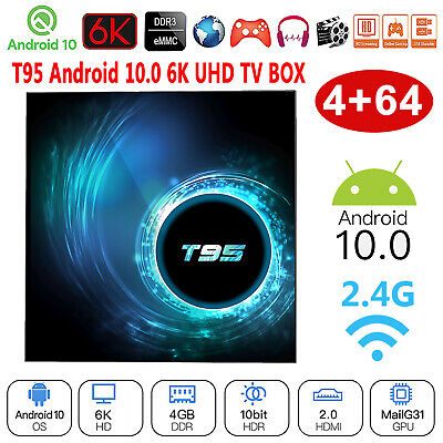 T95 Android 10.0 Allwinner H616 Quad Core 4G+64G HD 2.4G WiFi 3D 6K Smart TV Box