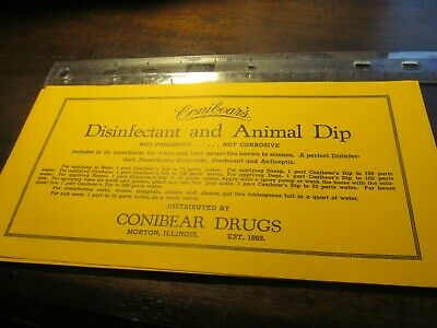 Lot Of Vintage  Huge Conibear's Disinfectant And Animal Dip Pharmacy Labels
