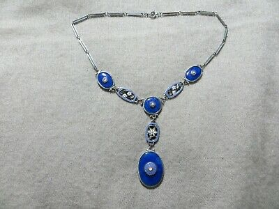 Art Deco Czech Neiger Blue Lapis Glass/Enamel Floral Links Silver Metal Necklace