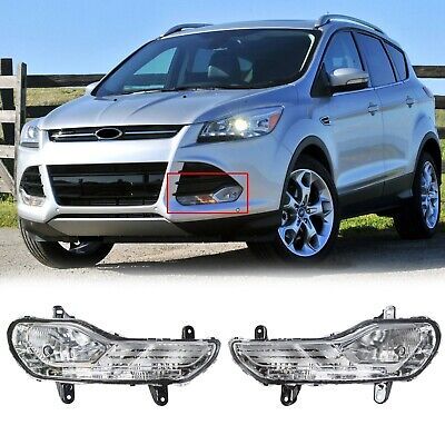 For Ford Escape 13-16 Pair Clear Lens Bumper Driving Light Fog Lamp Replacement