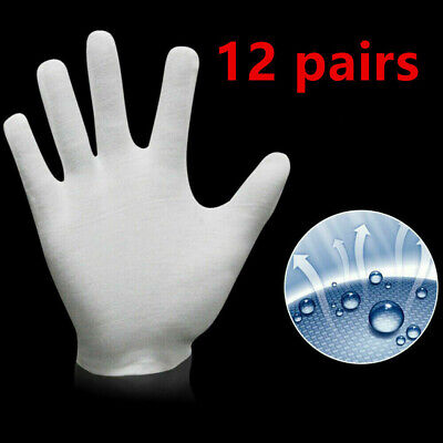 12 Pairs White Gloves Coin Jewelry Silver Inspection Cotton Soft Gloves XL Size