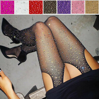 Women Bling Rhinestone Sexy Stockings Crystal Fishnet Net Mesh Socks Pantyhose