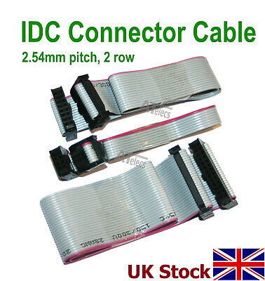 IDC Header Jumper Connector, 2.54mm pitch, 2 row, 30cm flat ribbon cable, female