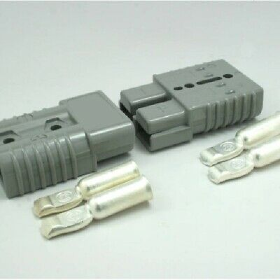 2 Connectors Plugs+Contacts, #1/0 AWG, Anderson Grey, SB175A-600V, Forklifts