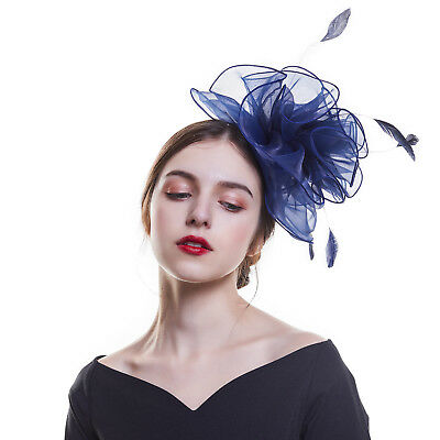 Women's Mesh Feather Fascinators Mini Veil Hats Wedding Party Races Royal Ascot