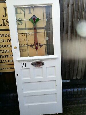 """VINTAGE 1920's solid front door with original STAINED GLASS panel.83.5"""" X 29.5"""""""