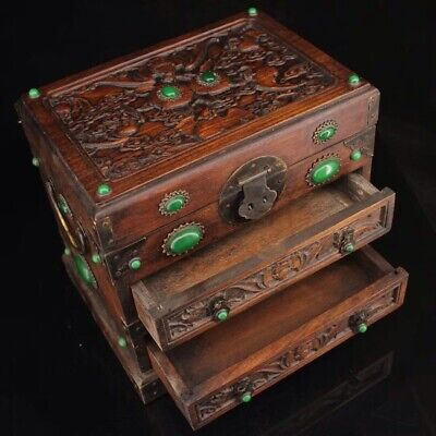 Chinese Qing Dynasty Hand-carved Rosewood Treasure Box