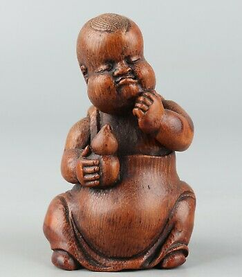 Chinese Exquisite Hand carved child Carving bamboo statue