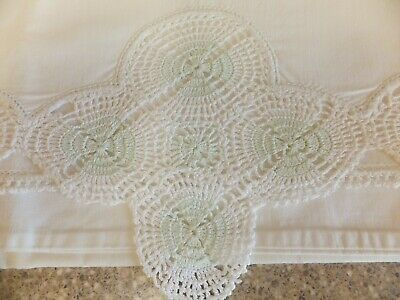 Vintage White Cotton Pillowcase With Hand Crocheted Trim In White & Mint Green